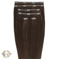 Clip on hair extensions #33 Rödbrun - 7 delar - 50 cm | Gold24