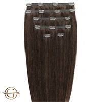 Clip on hair extensions #4 Brun - 7 delar - 50 cm | Gold24