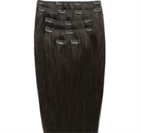 Clip on hair extensions #2 Mörkbrun - 7 delar - 50 cm | Gold24