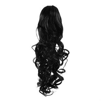 Pony tail extensions syntet Curly Svart 1#