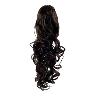 Pony tail extensions syntet Curly Mörkbrun 2#