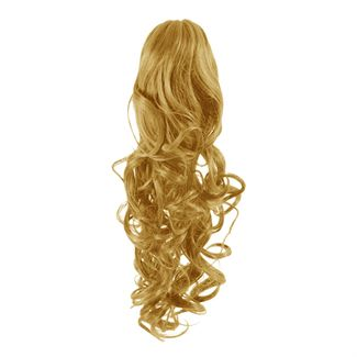 Pony tail extensions syntet Curly Mörkblond 27#