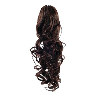 Pony tail extensions syntet Curly brun 4#