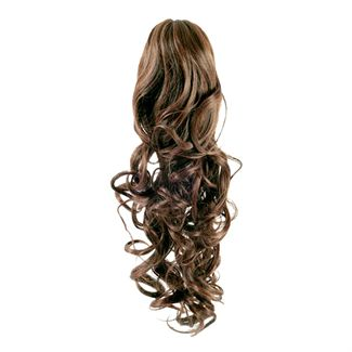 Pony tail extensions syntet Curly Ljus brun 6#