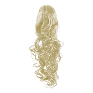 Pony tail extensions syntet Curly Platinablond 60#