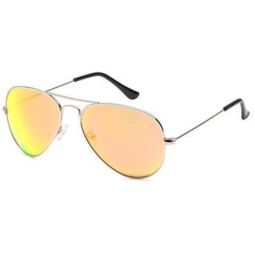 Lux® Aviator Pilot Solglasögon - Gult Spegelglas med silverbågar 54bb0a4c5fcfe