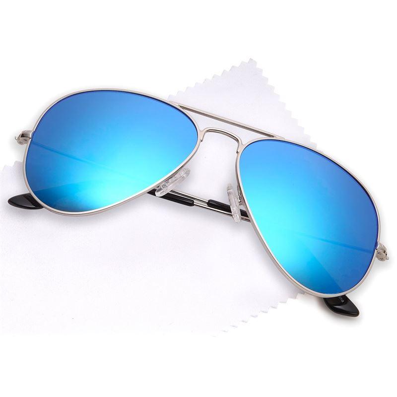 Lux® Aviator Pilot Solglasögon - blått glas med silverbågar 1dad998cea000