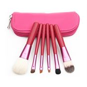 Makeup set med 6 borstar - rosa